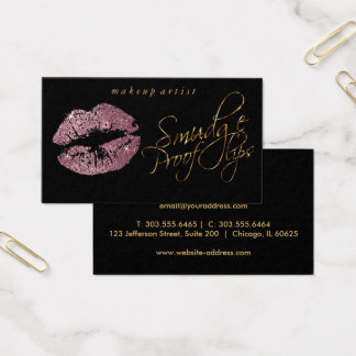 Smudge Proof Lips -Pink Rose and Elegant Gold Business Card