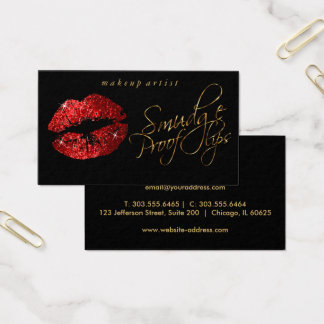 Smudge Proof Lips - Red Glitter and Elegant Gold Business Card