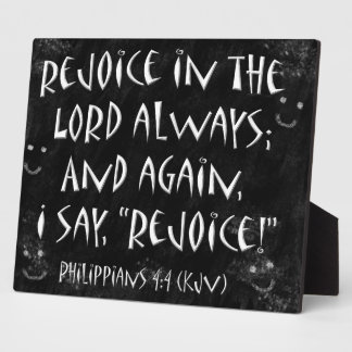 Smudged Blackboard Rejoice In The Lord Verse Plaque