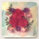 Smudged Flowers Cork Coaster