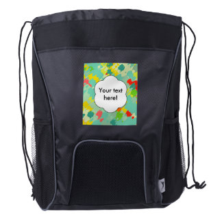 Smudged shapes abstract design drawstring backpack