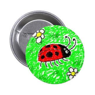 Smudgy Ladybug Button