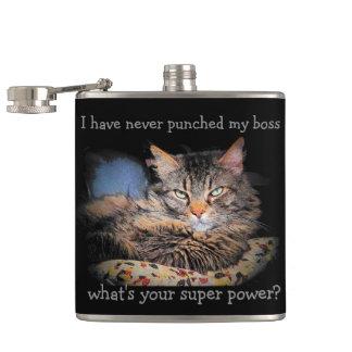 Smug Cat Hates Boss Super Power Hip Flask