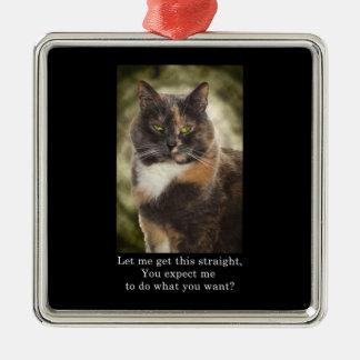 Smug Kitty - Do What You Want? Metal Ornament