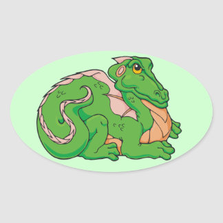 Smug little dragon oval sticker
