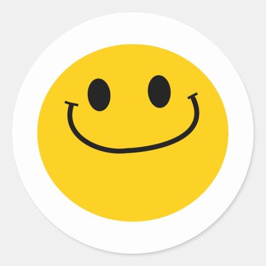 Smug smiley classic round sticker