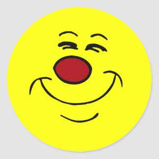 Smug Smiley Face Grumpey Classic Round Sticker