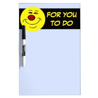 Smug Smiley Face Grumpey Dry Erase Board