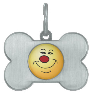 Smug Smiley Face Grumpey Pet ID Tag