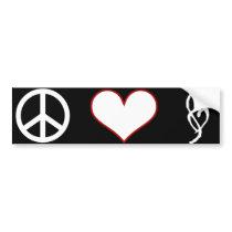 Smut Mark Peace Love Bumper Sticker