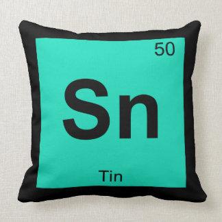 Sn - Tin Chemistry Periodic Table Symbol Element Throw Pillow