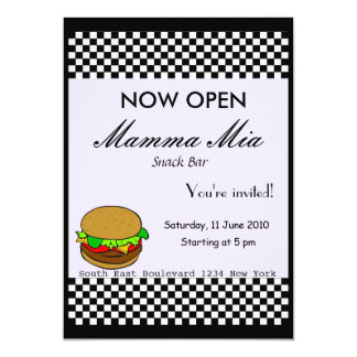 "Snack Bar Opening Party Invitation 5"" X 7"" Invitation Card"