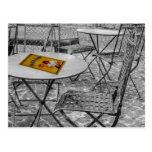 Snack bar outdoor table postcard