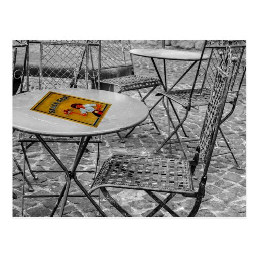 Snack bar outdoor table postcard