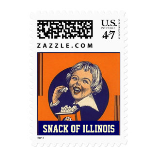 Snack of Illinois IL popcorn girl vintage Stamps
