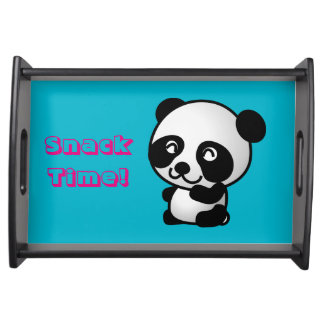 Snack Time! Cute black and white happy panda bear Serving Tray
