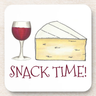 Snack Time! Red Wine Glass Brie Cheese Foodie Gift Drink Coaster