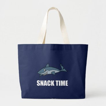 Beach Themed Snack Time Shark Large Tote Bag