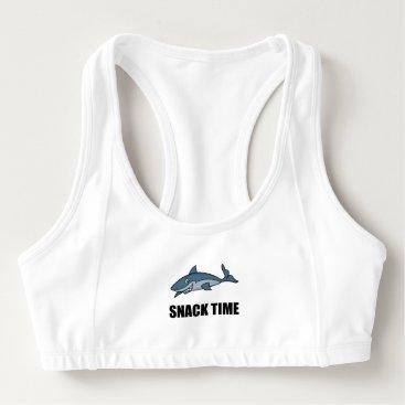 Beach Themed Snack Time Shark Sports Bra