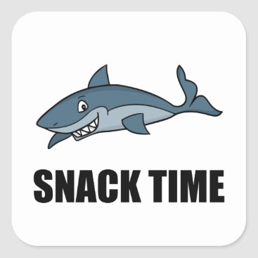 Beach Themed Snack Time Shark Square Sticker