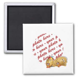 Snacking Potatoes - Father & Son Photo Frame Refrigerator Magnets