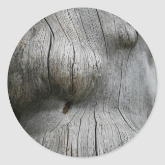 Snag wood texture background classic round sticker