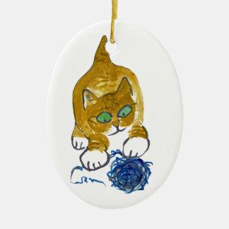Snagging Yarn Ceramic Ornament