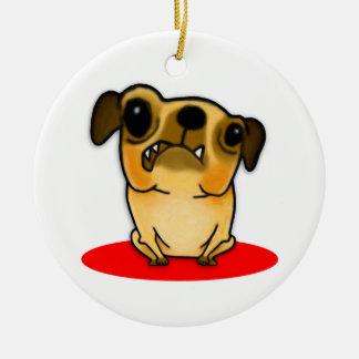 Snaggle Tooth Pug Ceramic Ornament