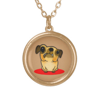 Snaggle Tooth Pug Gold Plated Necklace