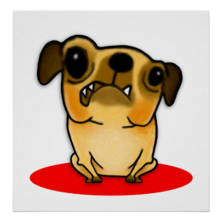 Snaggle Tooth Pug Poster