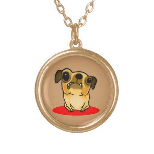 Snaggle Tooth Pug Round Pendant Necklace
