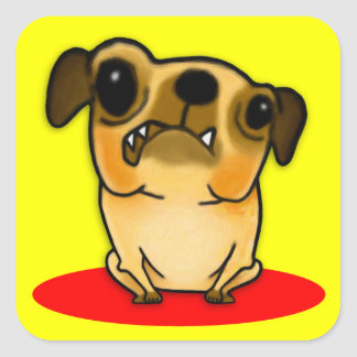 Snaggle Tooth Pug Square Sticker