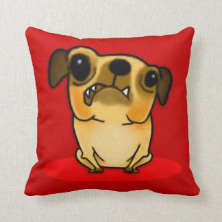 Snaggle Tooth Pug Throw Pillow