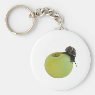 Snail and apple basic round button keychain