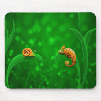 Snail and Chameleon Mouse Pad