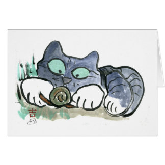 Snail and Kitten - Sumi-e Greeting Card