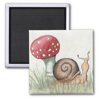 Snail and Mushroom 2 Inch Square Magnet