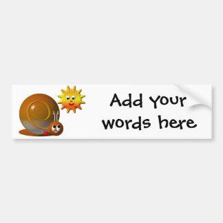 Snail and smiling sun bumper sticker