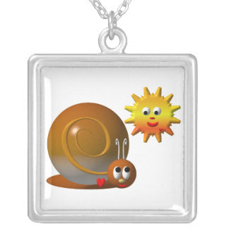 Snail and smiling sun silver plated necklace