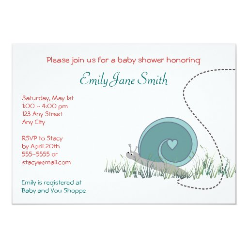 Snail Baby Shower Invitation