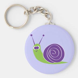 Snail Basic Round Button Keychain