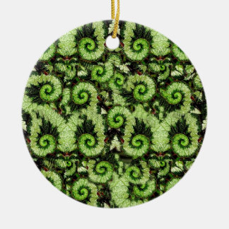 Snail Begonia Leaves Pattern by Sharles Ceramic Ornament