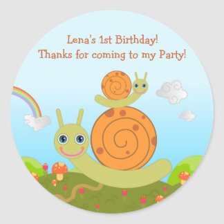 Snail Birthday Party thank you note Round Sticker