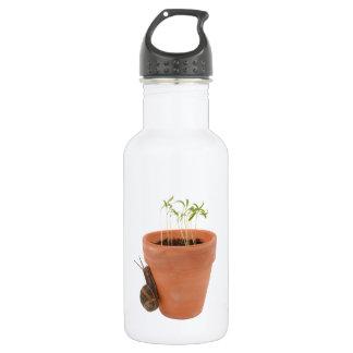 Snail climbing a flowerpot 18oz water bottle