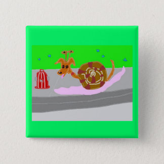 Snail Dog Tippy And The Fire Hydrant Pinback Button