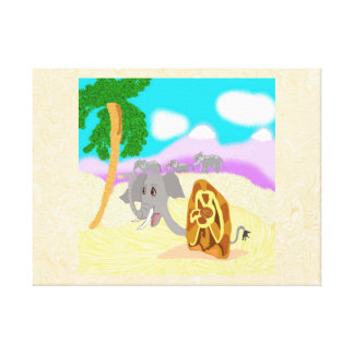 Snail Elephant Doris Finds A Peanut Canvas Print