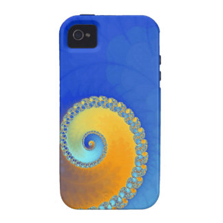 Snail fractal blue and yellow iPhone 4 covers