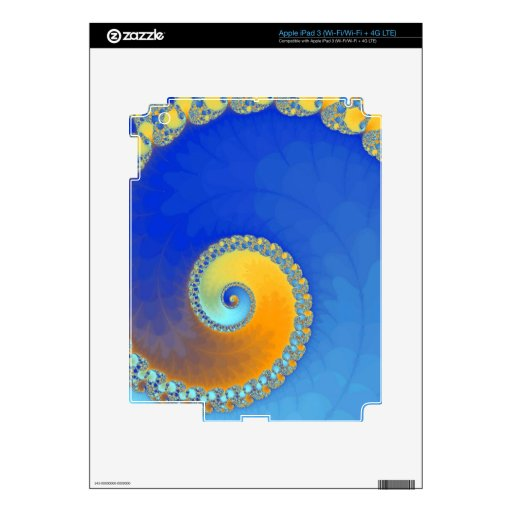 Snail fractal blue and yellow iPad 3 decal