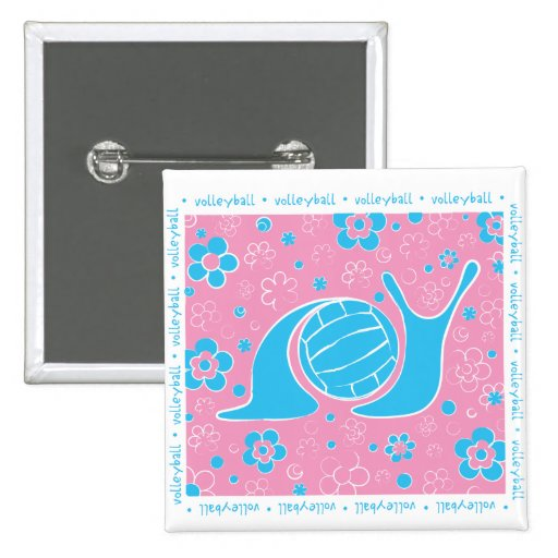 Snail Harbor Volleyball 2 Inch Square Button