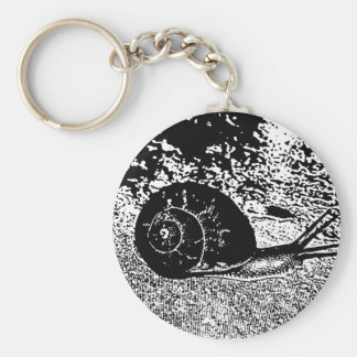 Snail in Black and White Keychain